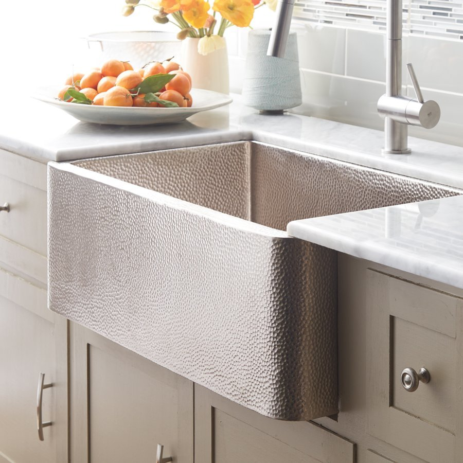 "Native Trails 33"" x 22"" Farmhouse Apron Kitchen Sink - Brushed Nickel CPK573"