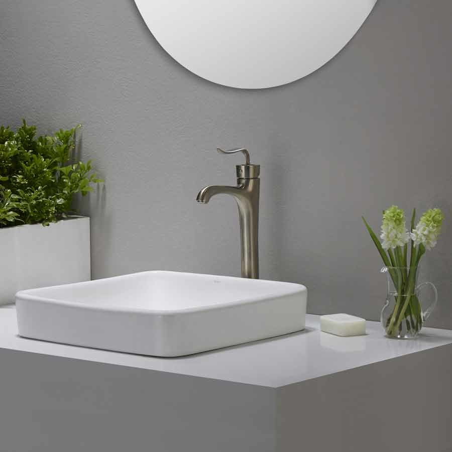 "Kraus 16"" Elavo Square Drop-In Sink - White KCR-281"