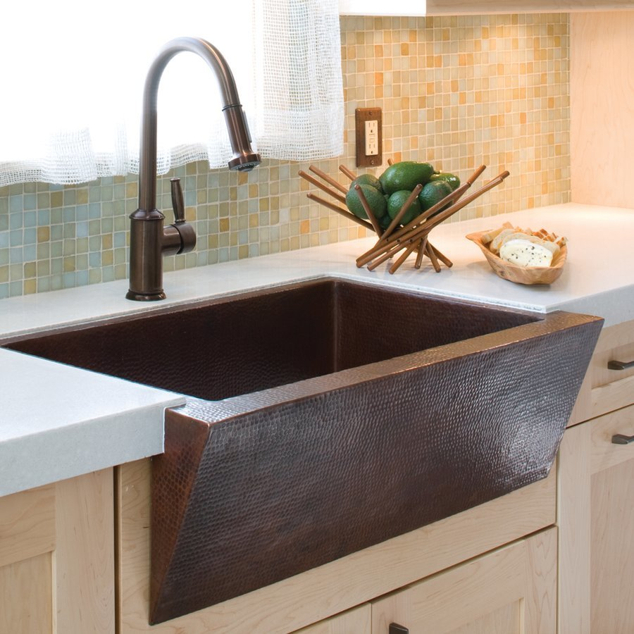 "Native Trails 33"" x 22"" Zuma Farm House Kitchen Sink - Antique Copper CPK290"