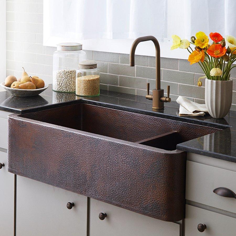 """Native Trails 40"""" x 22"""" Farmhouse Double Bowl Kitchen Sink-Antique Copper CPK274"""