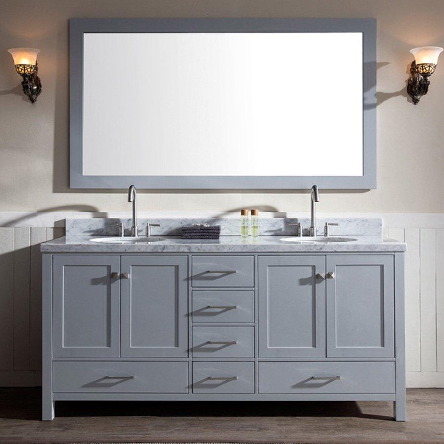 "Ariel Bath 73"" Cambridge Double Sink Bathroom Vanity - Gray A073D-GRY"