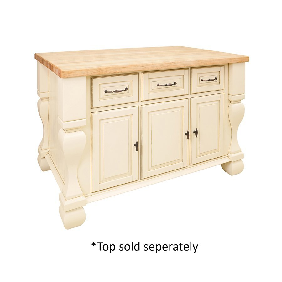 Jeffrey Alexander 53 inch Tuscan Kitchen Island with o Top - Antique White ISL01-AWH
