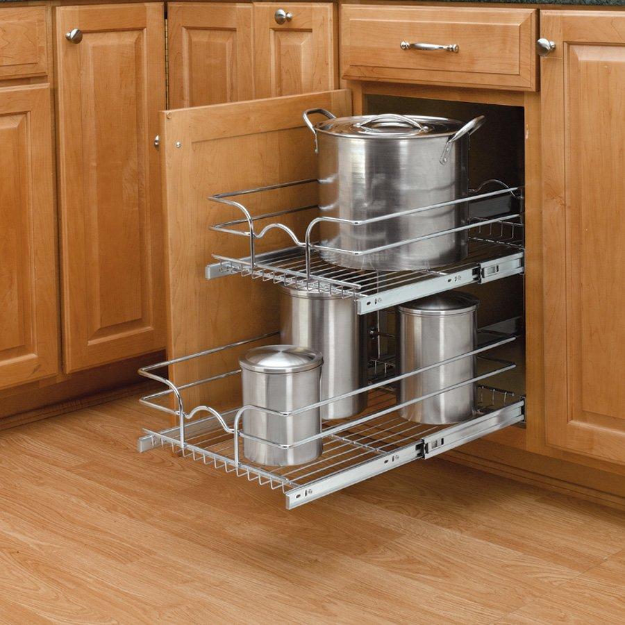 Rev-A-Shelf 15 Inch Width 2 Tier Wire Kitchen Cabinet Pull ...