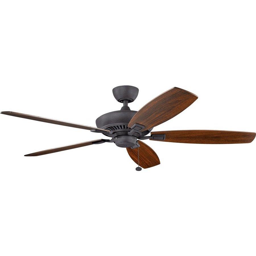 Kichler 60 Inch Canfield Ceiling Fan - Distressed Black and Walnut/Cherry 300188DBK