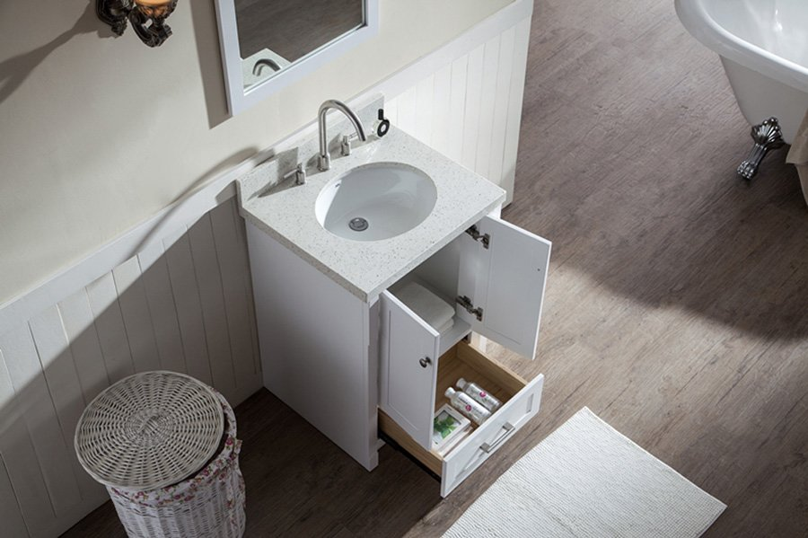 Ariel bath 25 adams single sink bathroom vanity white for J b bathrooms wimborne