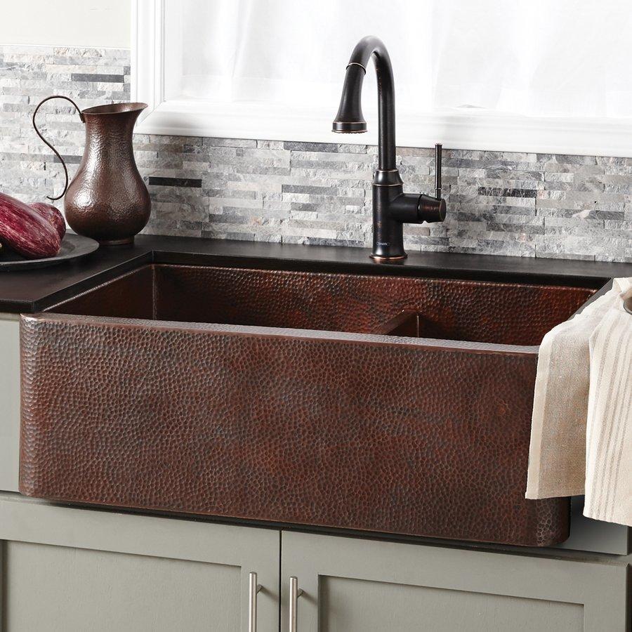 """Native Trails 33"""" x 22"""" Farmhouse Double Bowl Kitchen Sink-Antique Copper CPK276"""
