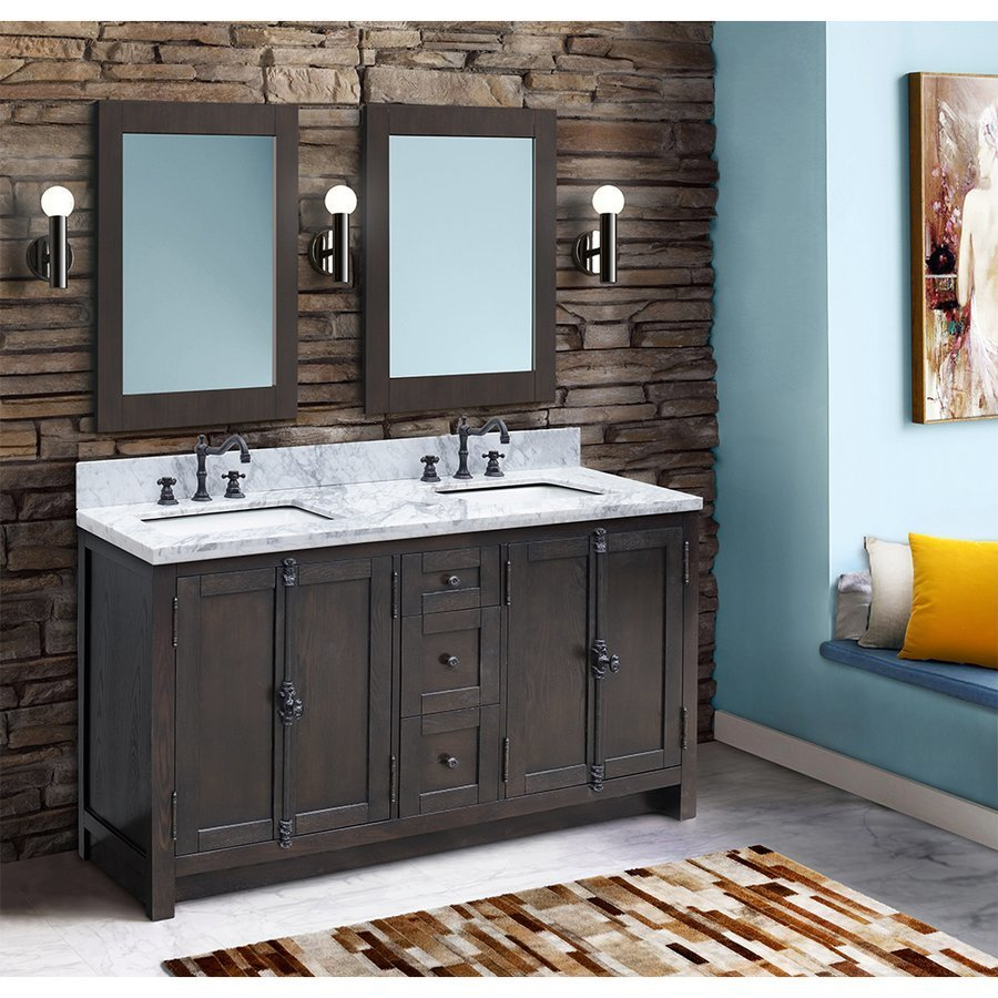 Bellaterra 55 Inch Walnut Double Sink Vanity with White Marble Countertop 400100-55-BA-WM