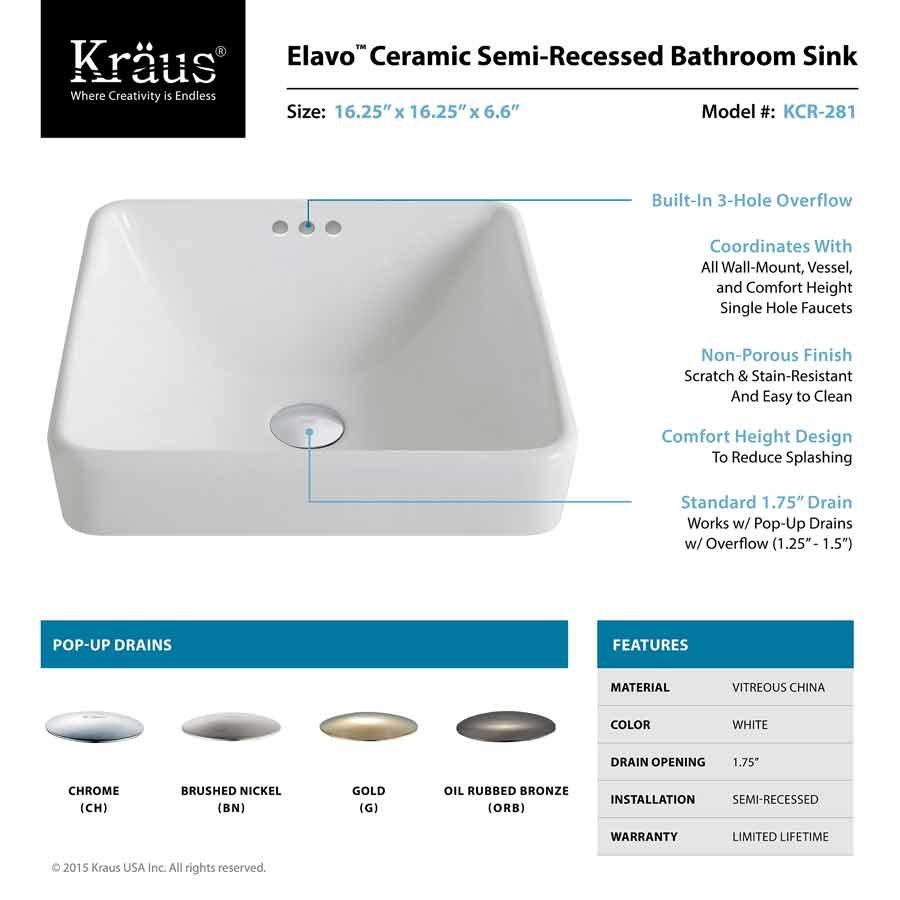 "Kraus 16"" Elavo Square Drop-In Sink w/ Drain - White/BrushedNickel KCR-281-BN"