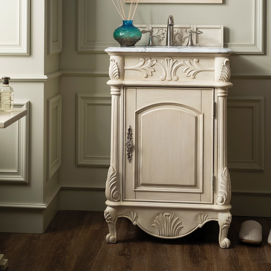 James Martin 24 St James Single Vanity W Carrara White Top Vint