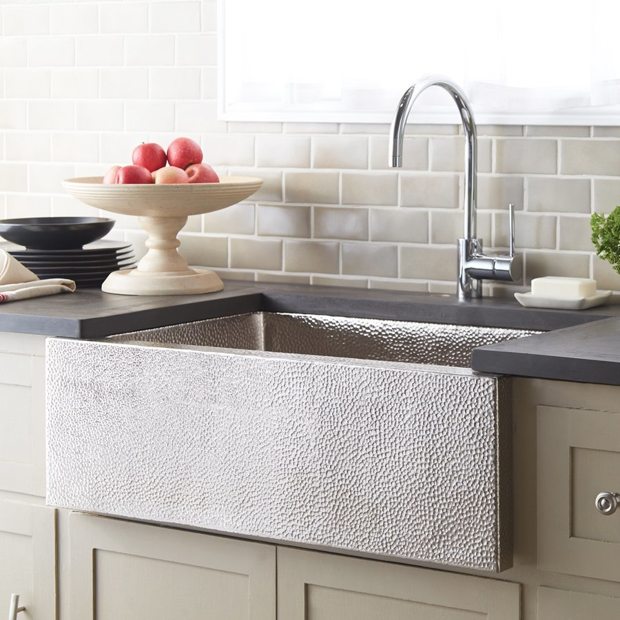"Native Trails 33"" x 22"" Pinnacle Farm House Kitchen Sink - Brushed Nickel CPK592"
