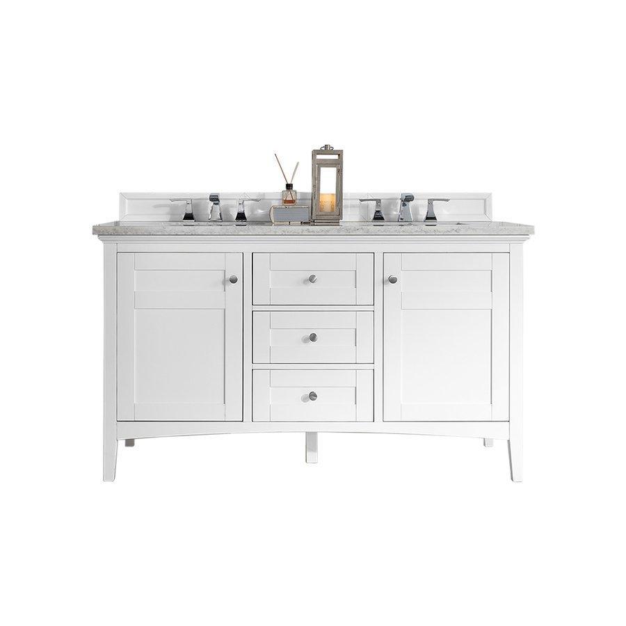 double sink vanity with granite top. James Martin 60  Palisades Double Sink Vanity W Granite Top Bright White 527