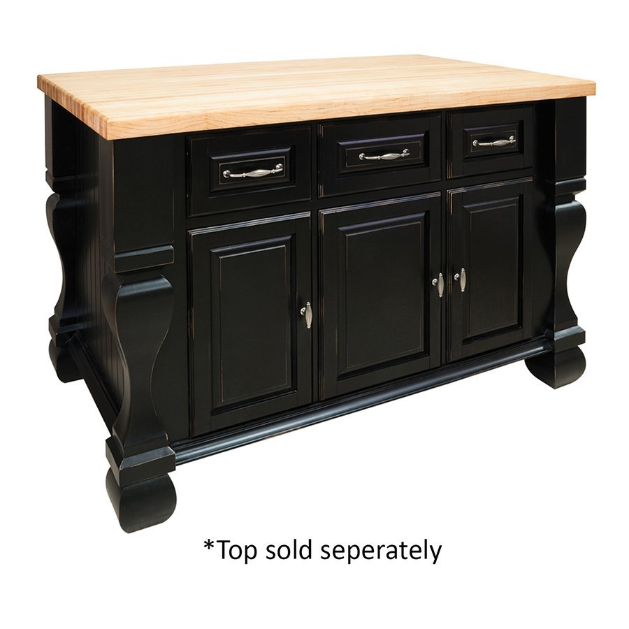 Jeffrey Alexander 53 inch Tuscan Kitchen Island with o Top - Distressed Black ISL01-DBK