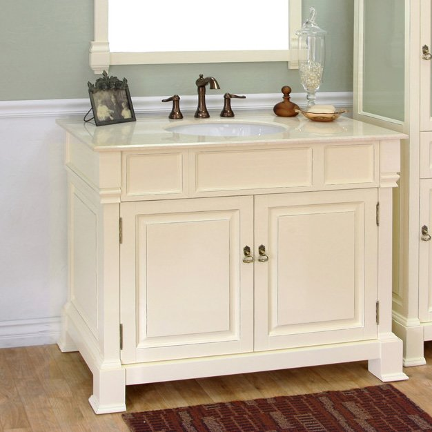 Bellaterra Single Sink Bathroom Vanity Cream WhiteCream Top - Bathroom vanities pompano beach fl