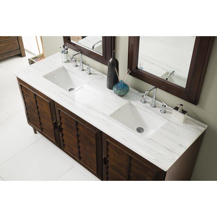 "James Martin 72"" Portland Double Sink Vanity w/ Solid Surface Top - Burnished Mahogany 620-V72-BNM-3AF"