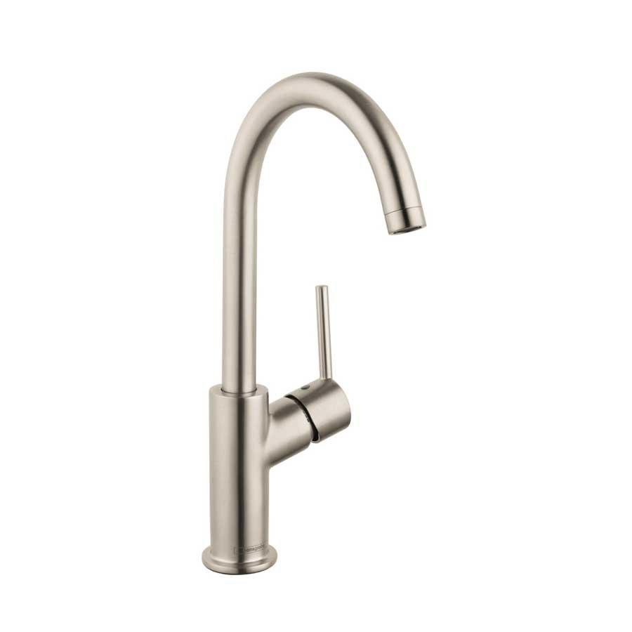 Hansgrohe talis s one handle single hole bathroom faucet nickel 32082821 j keats for Hansgrohe talis bathroom faucet