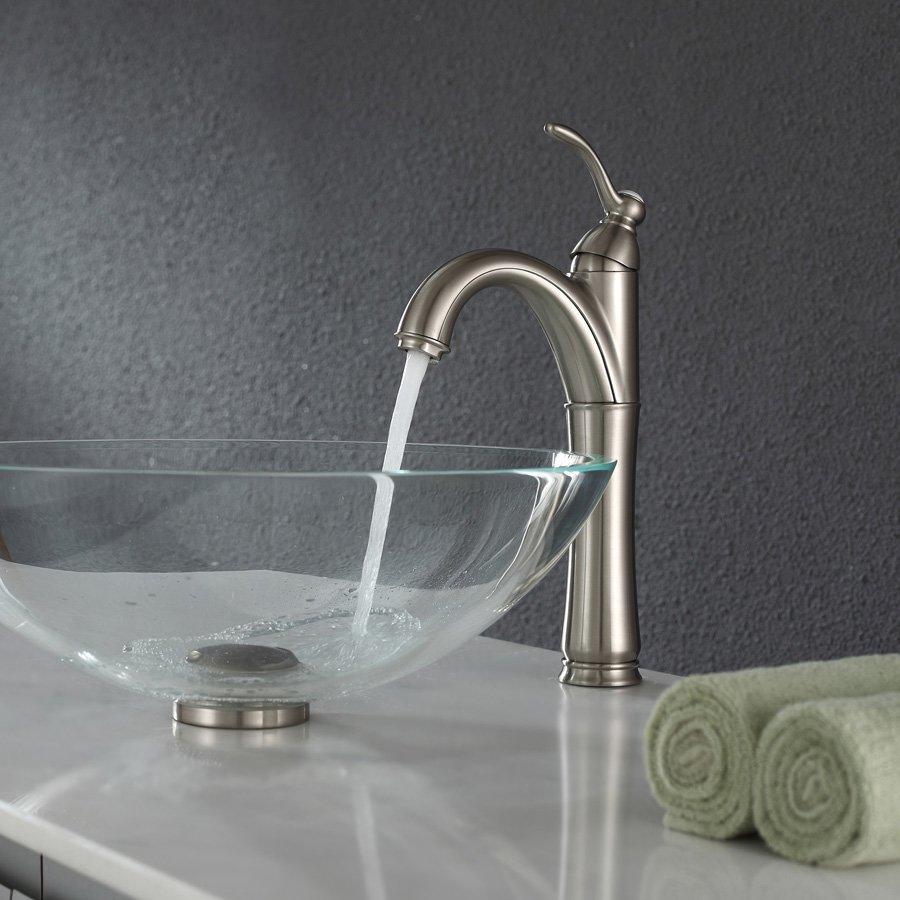 Kraus Riviera Vessel Bathroom Faucet - Satin Nickel FVS-1005SN | J.KEATS