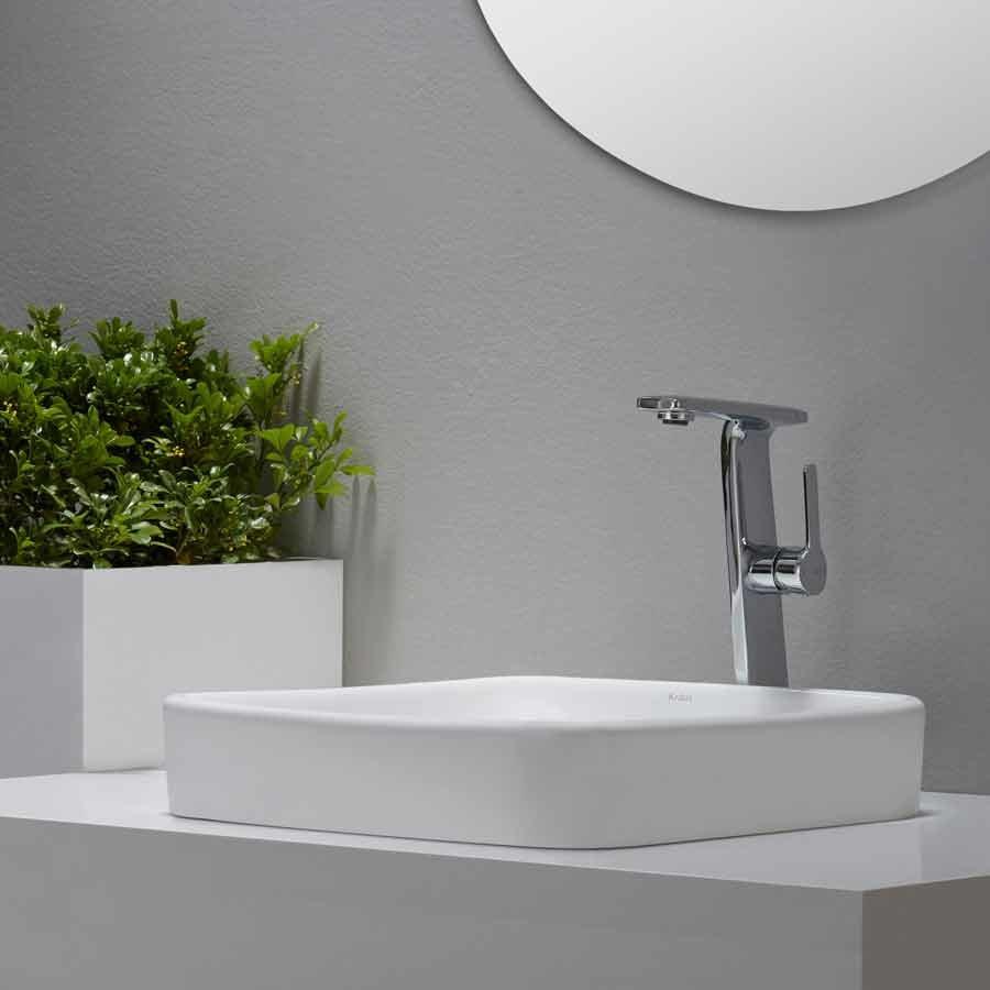 "Kraus 16"" Elavo Square Drop-In Sink w/ Drain - White/Chrome KCR-281-CH"