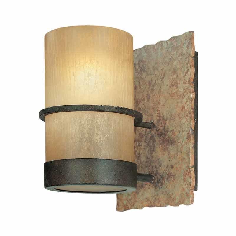 Troy Lighting Bamboo 1 Light Bathroom Sconce - Bamboo Bronze/Natural Slate B1841BB