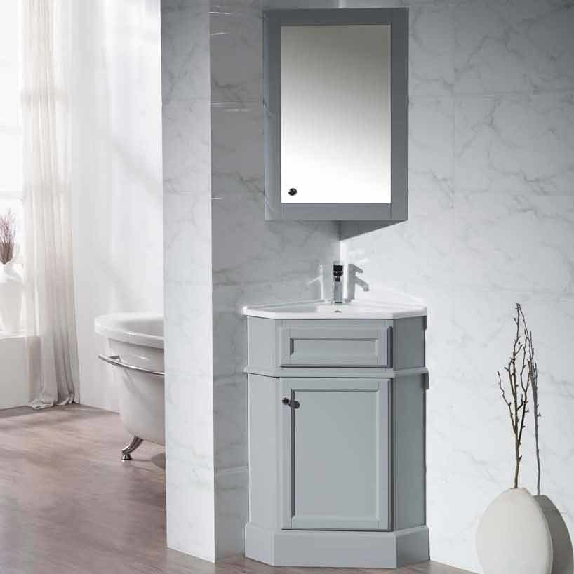 "Stufurhome 27"" Hampton Corner Single Vanity - Gray/White Top TY-415GY"