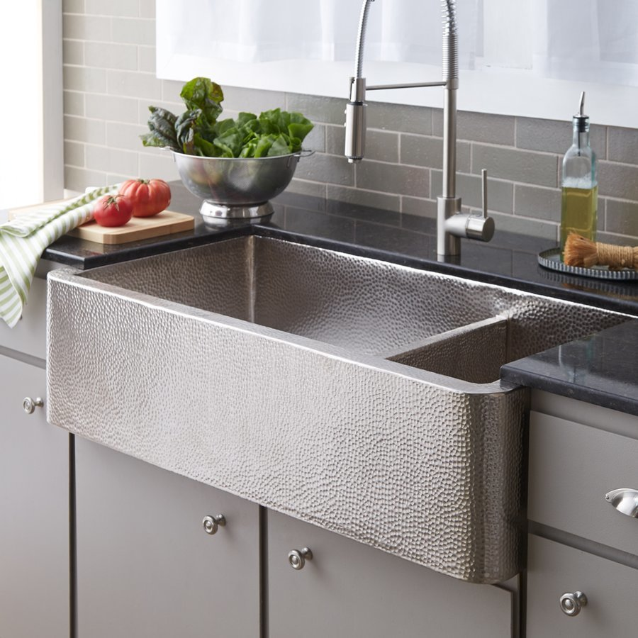 "Native Trails 40"" x 22"" Farmhouse Apron Kitchen Sink - Brushed Nickel CPK574"