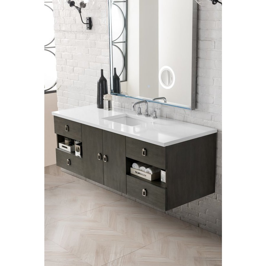 James Martin 60 Inch Sonoma Single Sink Vanity With Classic White Quartz Top Silver Oak 860 V60s Sok 3clw Keats Castle