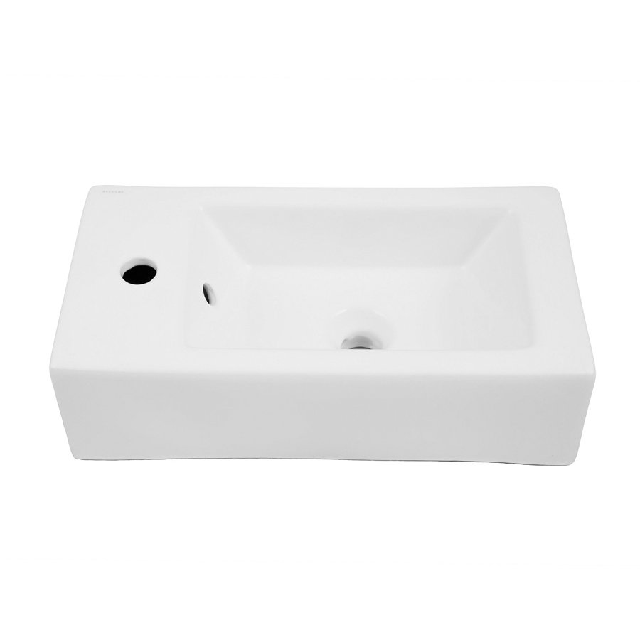 "DECOLAV Eleni 20"" x 10"" Left Above Counter Bathroom Sink 1486L-CWH"