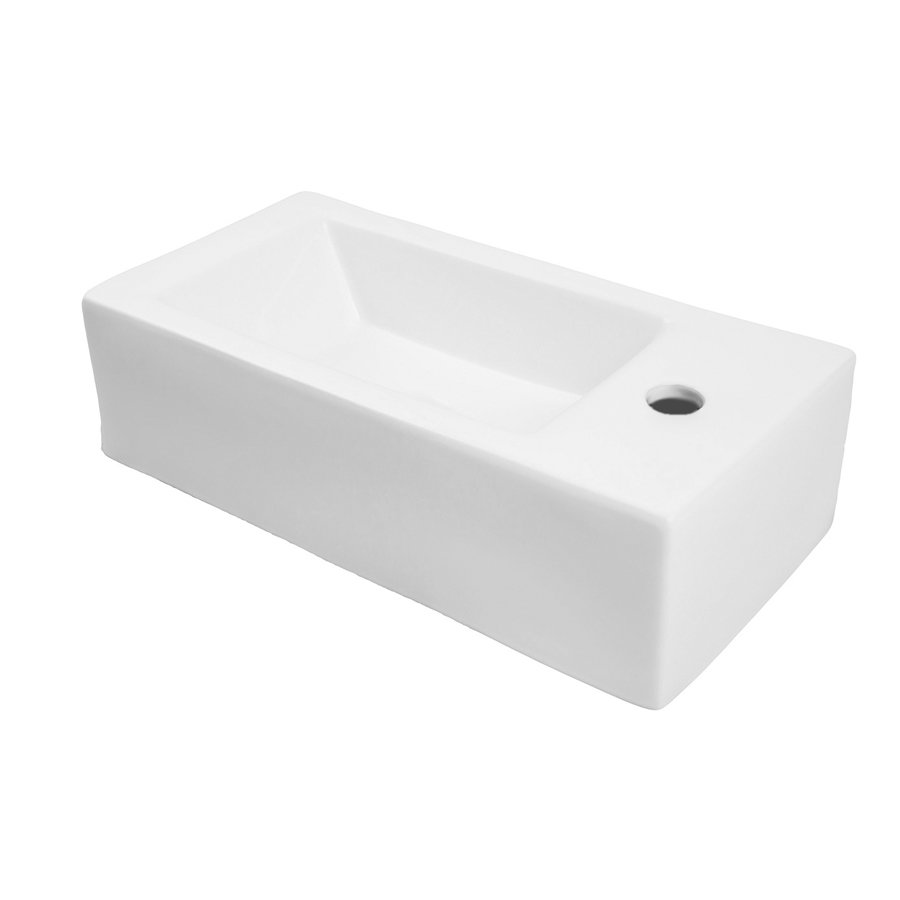 "DECOLAV Allona 20"" x 10"" Right Above Counter Bathroom Sink 1486R-CWH"