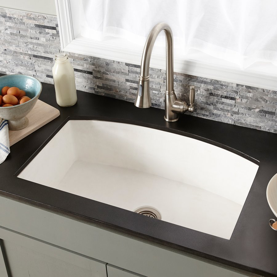 "Native Trails 33"" x 21"" Farmhouse Quartet Kitchen Reversible Sink - Pearl NSKQ3320-P"
