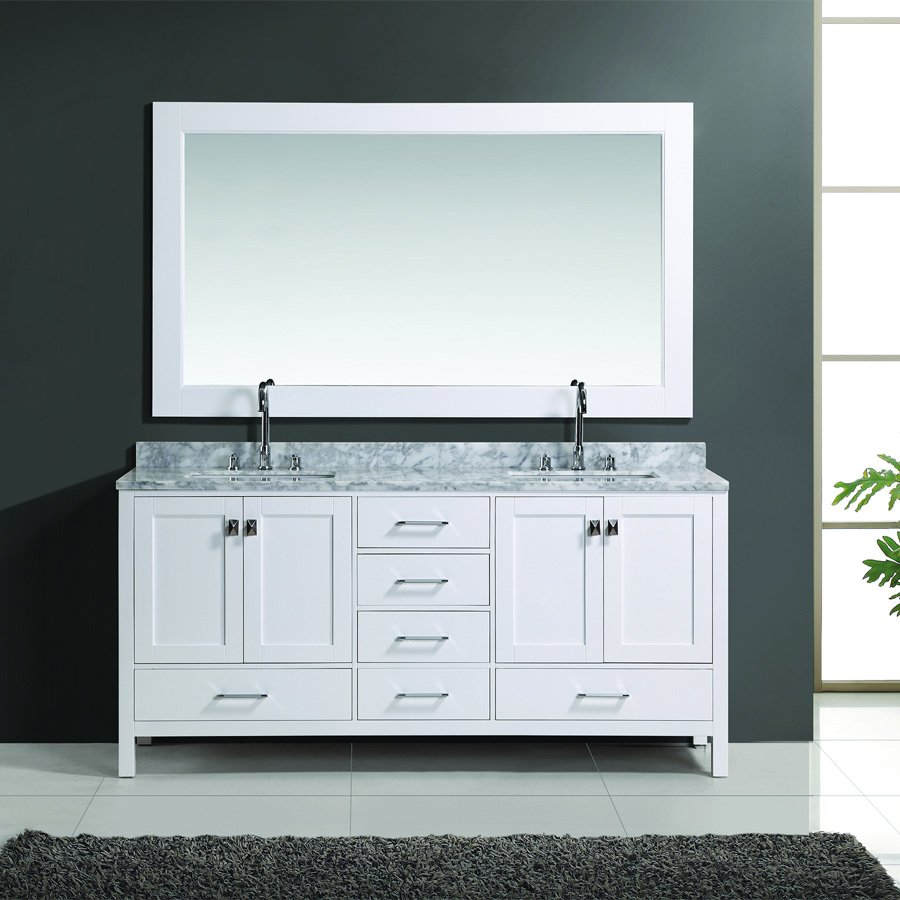 Design element 72 london double sink bathroom vanity w - 72 inch single sink bathroom vanity ...