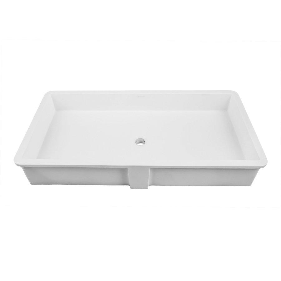 """DECOLAV Sondra 16"""" x 34"""" Undermount Bathroom Sink - White 1839-34-SSA"""