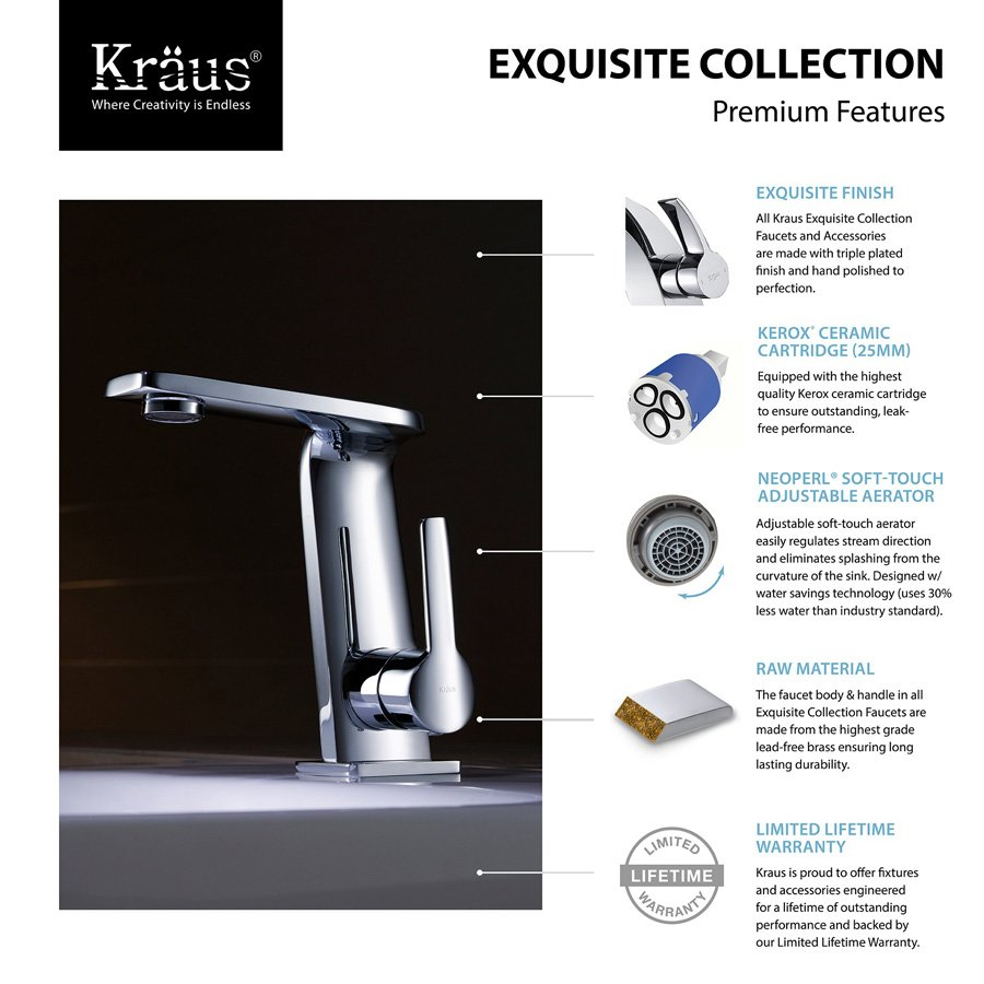 Kraus Novus One Handle Single Hole Bathroom Faucet - BrushedNickel ...
