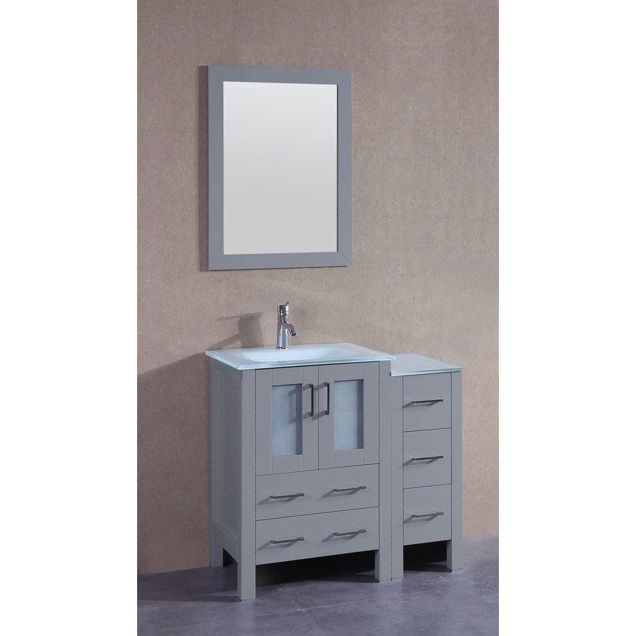 "Bosconi 36"" AGR124 Single Vanity w/ Tempered Glass Top-Gray AGR124EWGU1S"