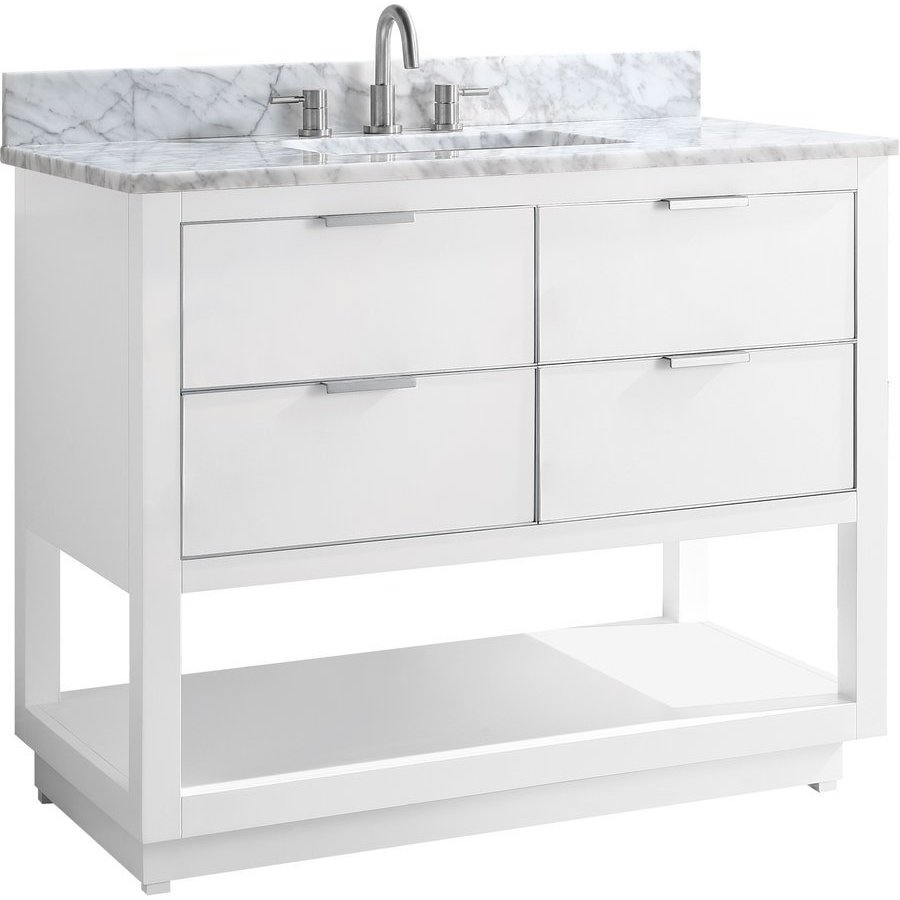 Avanity 43 Inch Allie Single Sink Vanity White With Brushed Silver Trim And Carrara White Marble Top Allie Vs43 Wts C Keats Castle