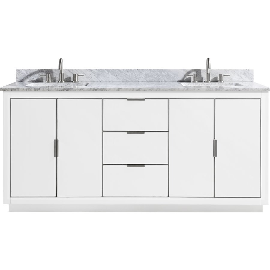 Avanity 73 Inch Austen Double Sink Vanity - White with ...