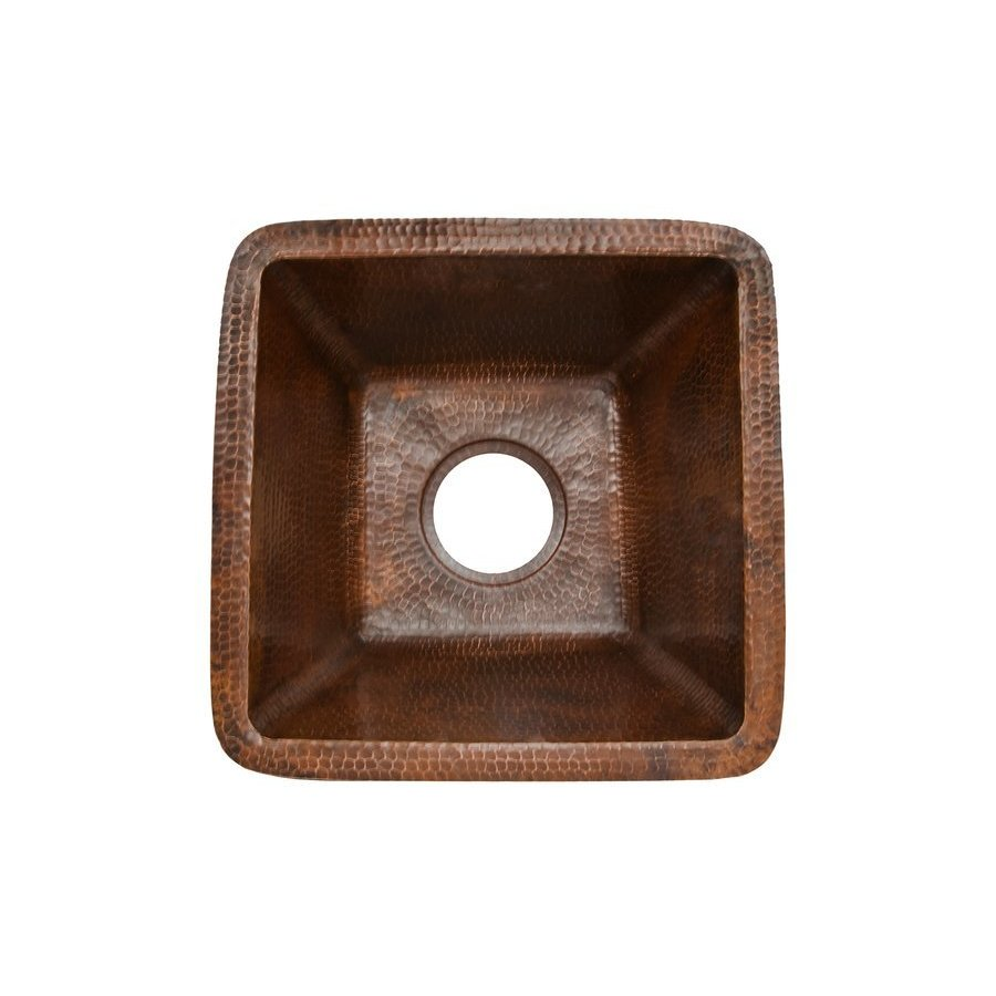 Premier Copper Products 15 Inch Square Undermount Bar/Prep Sink, 3.5 Inch Drain - Oil Rubbed Bronze BS15DB3