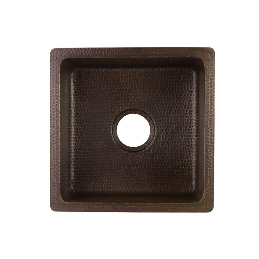 Premier Copper Products 16 Inch Square Undermount Bar/Prep Sink- Oil Rubbed Bronze BS16DB3