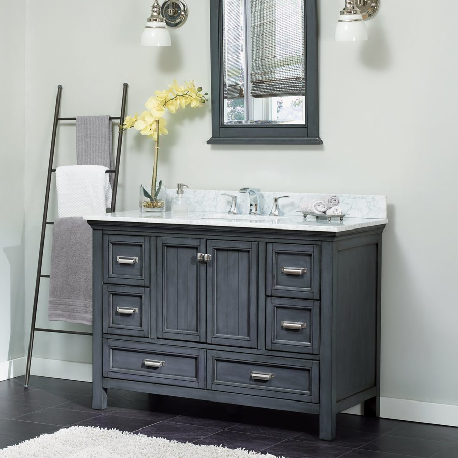 Foremost 49 Inch Width Brantley Single Sink Bathroom Vanity With Rushmore Grey Granite Top Harbor Blue Babvt4922d Rg Keats Castle