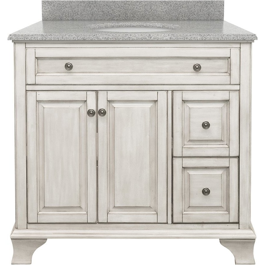 Foremost 37 Inch Width Corsicana Single Sink Bathroom Vanity With Rushmore Grey Granite Top Antique White Cnawvt3722d Rg Keats Castle