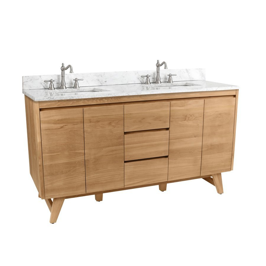 Avanity 61 Inch Coventry Vanity Combo - Natural Teak with Carrera White Marble Top COVENTRY-VS61-NT