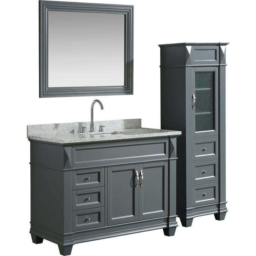 Design Element 48 Inch Hudson Single Sink Vanity Set With 65 Inch Linen Tower Cabinet Gray