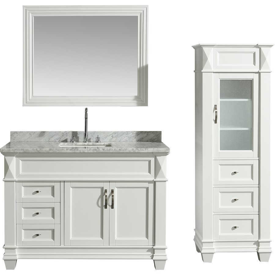 Design Element 48 Inch Hudson Single Sink Vanity Set With 65 Inch Linen Tower Cabinet White