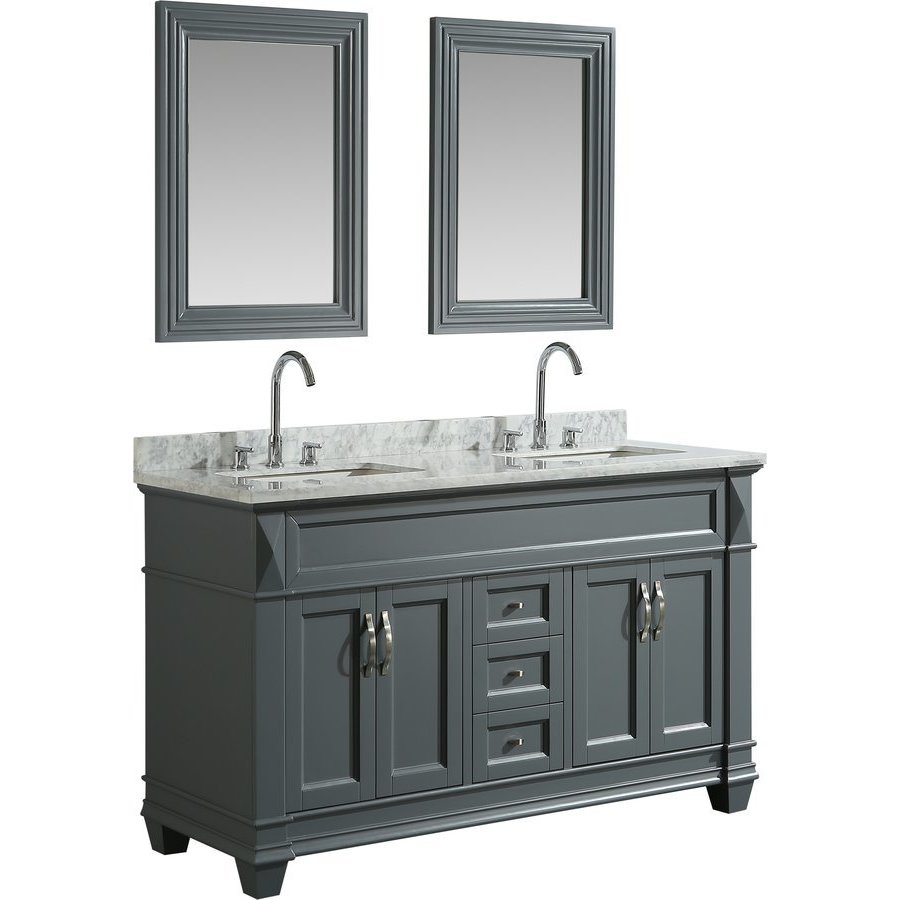 Design Element 61 Inch Hudson Double Sink Vanity Set With 65 Inch Linen Tower Cabinet Gray Dec059c G Wt J Keats