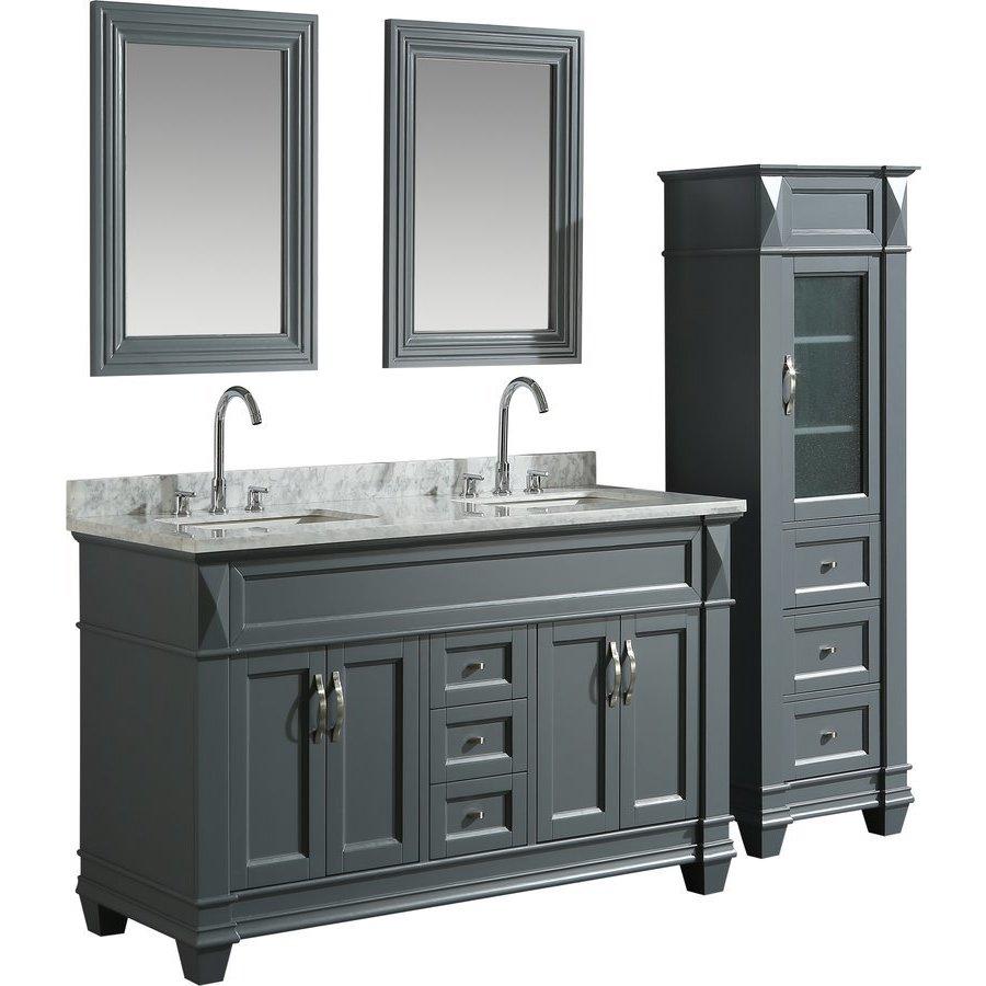 Design Element 60 Inch Hudson Double Sink Vanity Set With 65 Inch Linen Tower Cabinet Gray Dec059c G Wt Cab059 G Keats Castle