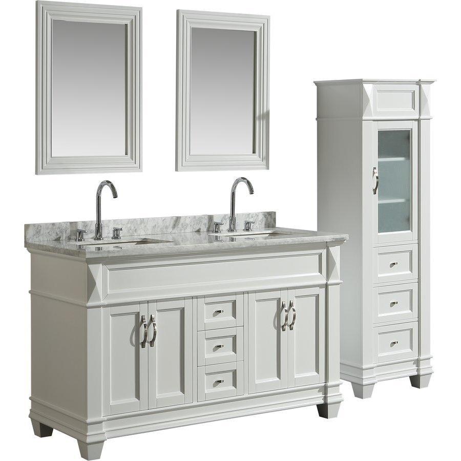 Design Element 60 Inch Hudson Double Sink Vanity Set With 65 Inch Linen Tower Cabinet White Dec059c W Wt Cab059 W Keats Castle