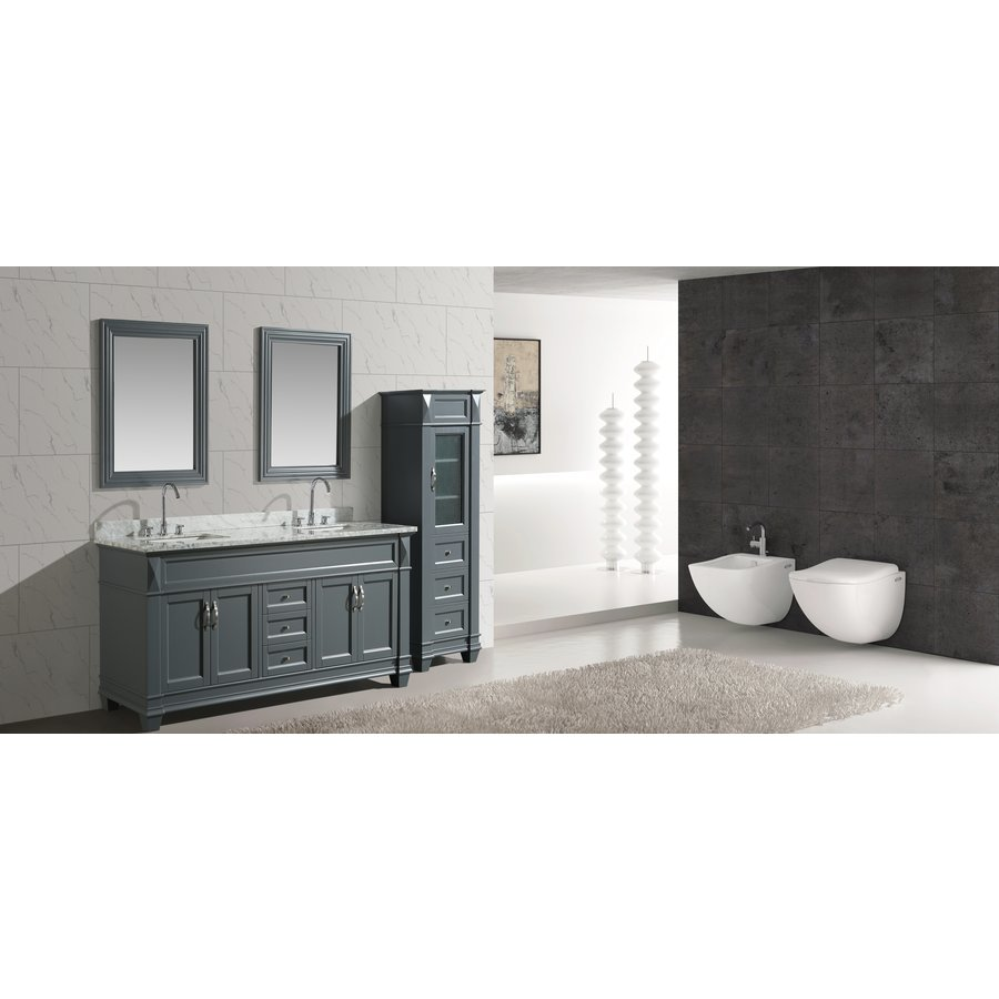 Design Element 72 Inch Hudson Double Sink Vanity Set With 65 Inch Linen Tower Cabinet Gray Dec059d G Wt Cab059 G Keats Castle