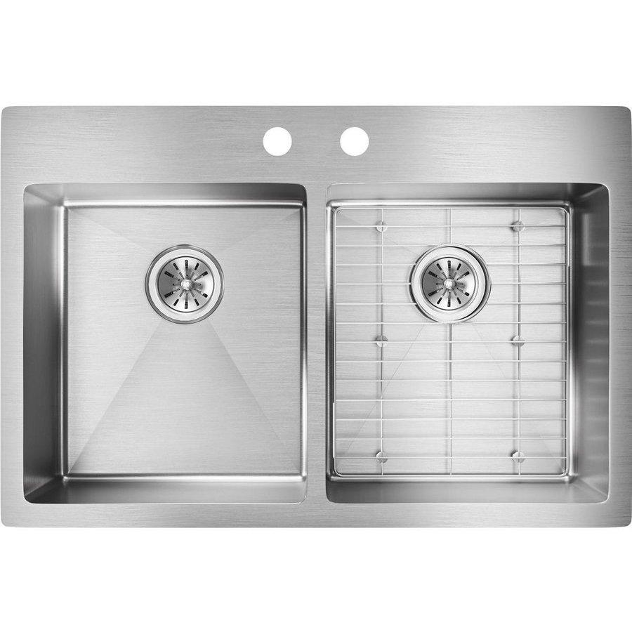 Elkay Crosstown 22 Double Bowl Sink Kit 2 Faucet Holes - Polished Steel ECTSR33229TBGFR2