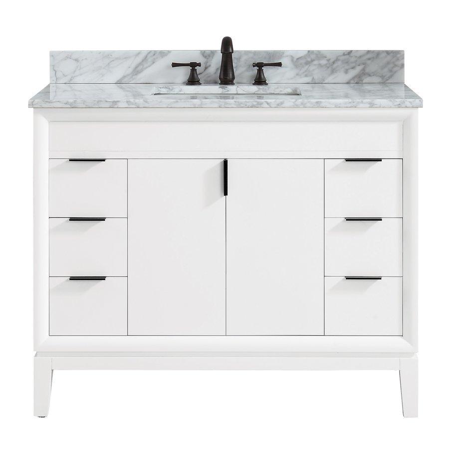 """Avanity 43"""" Emma Combo Vanity - Carrara White Marble Top EMMA-VS43-WT-C"""