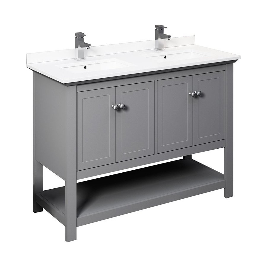 Fresca 48 Inch Manchester Traditional Double Sink Vanity Gray