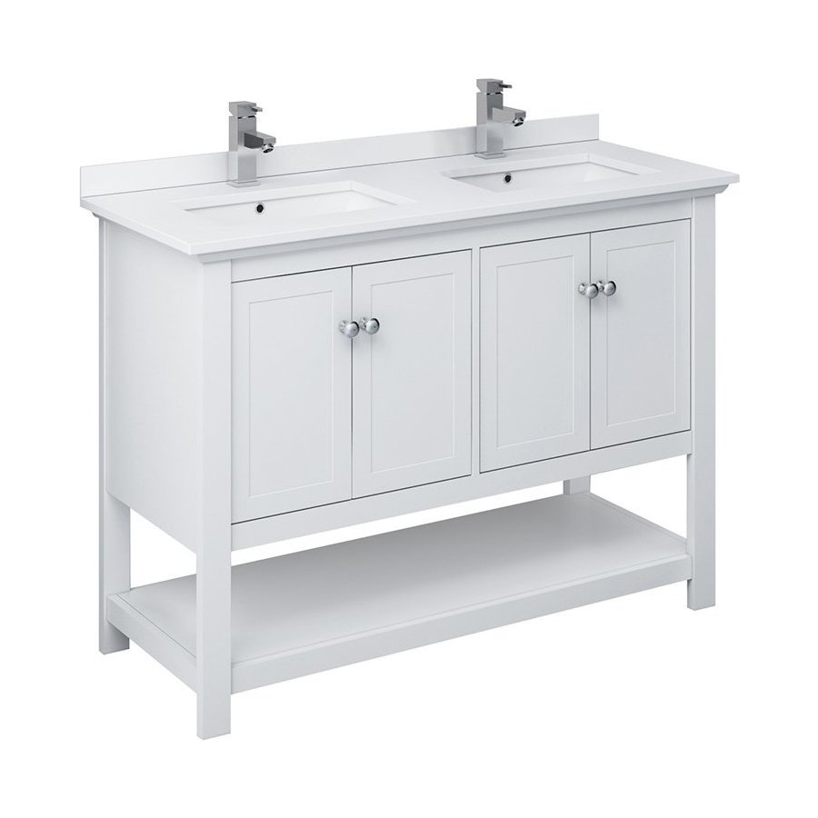 Fresca 48 Inch Manchester Traditional Double Sink Vanity White