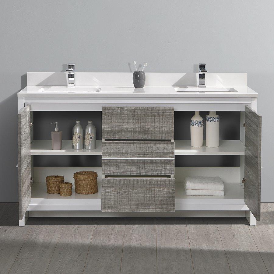 """Fresca Allier Rio 60"""" Ash Gray Double Sink Modern Bathroom Cabinet w/ Top & Sinks FCB8119HA-CWH-U"""